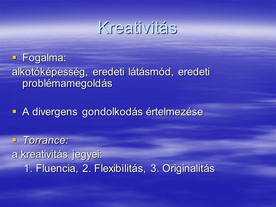 Kreativitás Fogalma: alkotóképesség, eredeti látásmód, eredeti problémamegoldás. A divergens gondolkodás értelmezése.