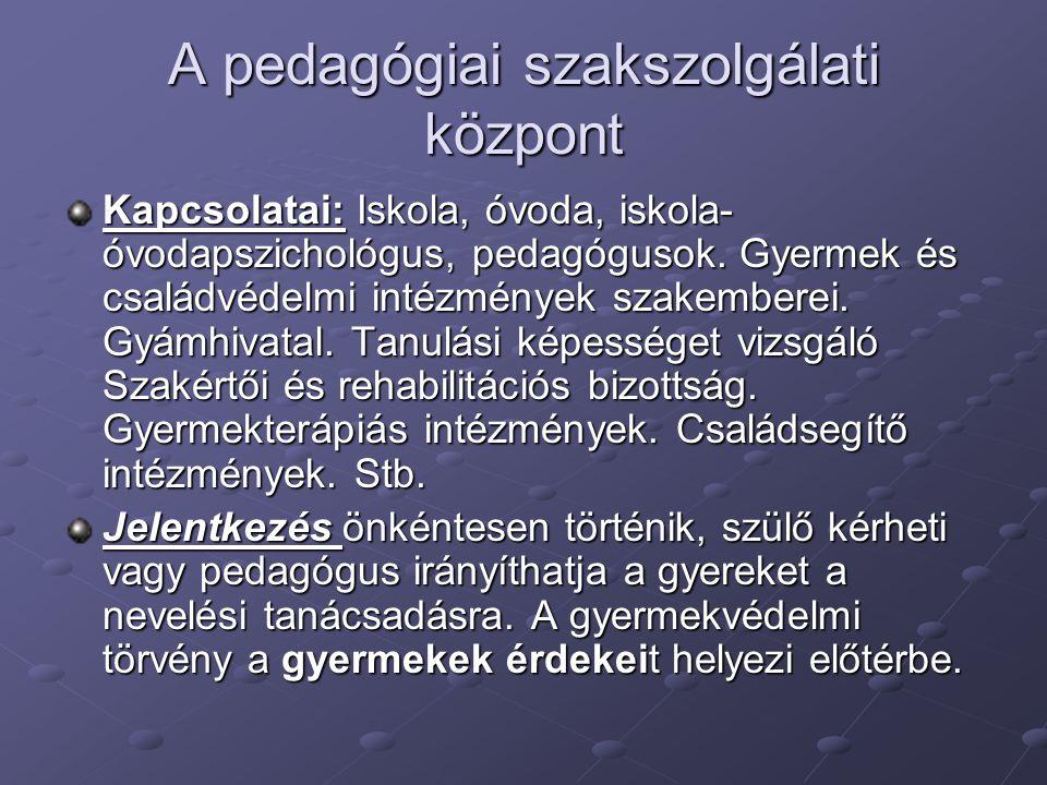 A pedagógiai szakszolgálati központ