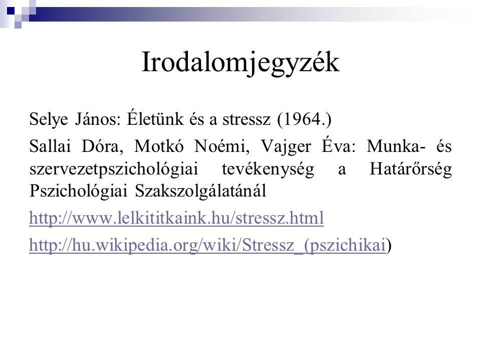 Irodalomjegyzék Selye János: Életünk és a stressz (1964.)