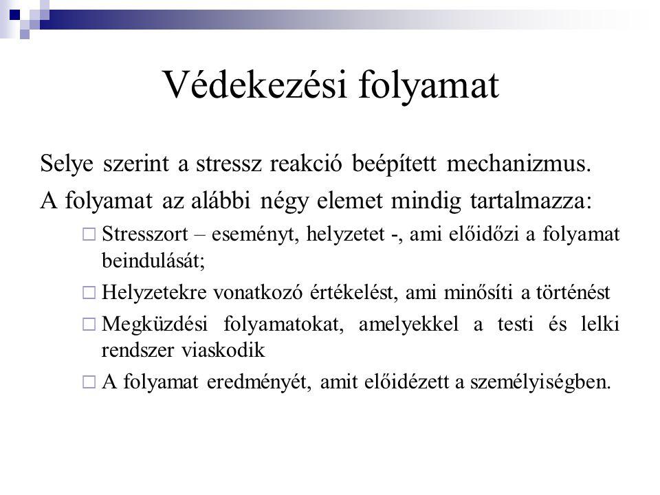 Védekezési folyamat Selye szerint a stressz reakció beépített mechanizmus. A folyamat az alábbi négy elemet mindig tartalmazza: