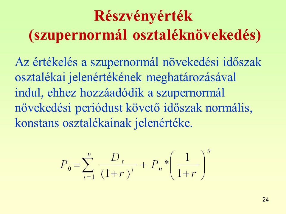 Részvényérték (szupernormál osztaléknövekedés)