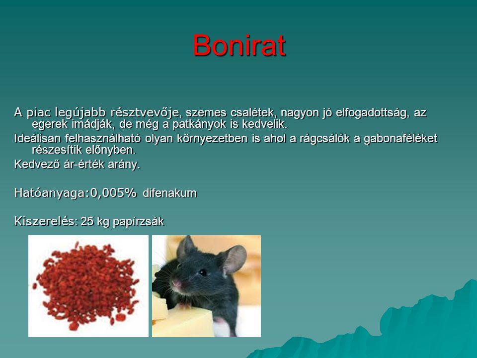Bonirat A piac legújabb résztvevője, szemes csalétek, nagyon jó elfogadottság, az egerek imádják, de még a patkányok is kedvelik.