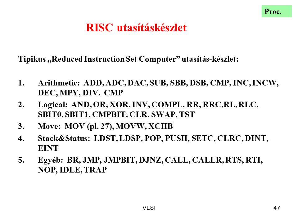 """Proc. RISC utasításkészlet. Tipikus """"Reduced Instruction Set Computer utasítás-készlet:"""