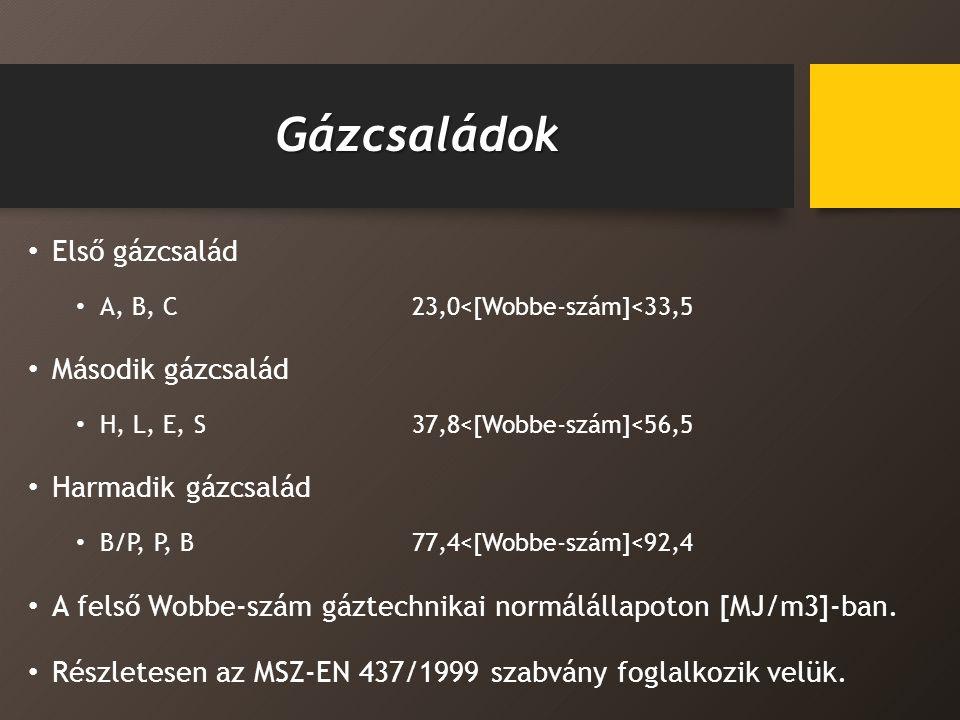 Gázcsaládok Első gázcsalád Második gázcsalád Harmadik gázcsalád