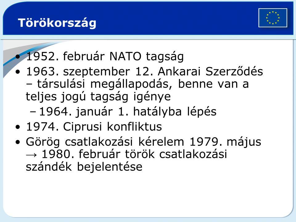 Törökország 1952. február NATO tagság. 1963. szeptember 12. Ankarai Szerződés – társulási megállapodás, benne van a teljes jogú tagság igénye.