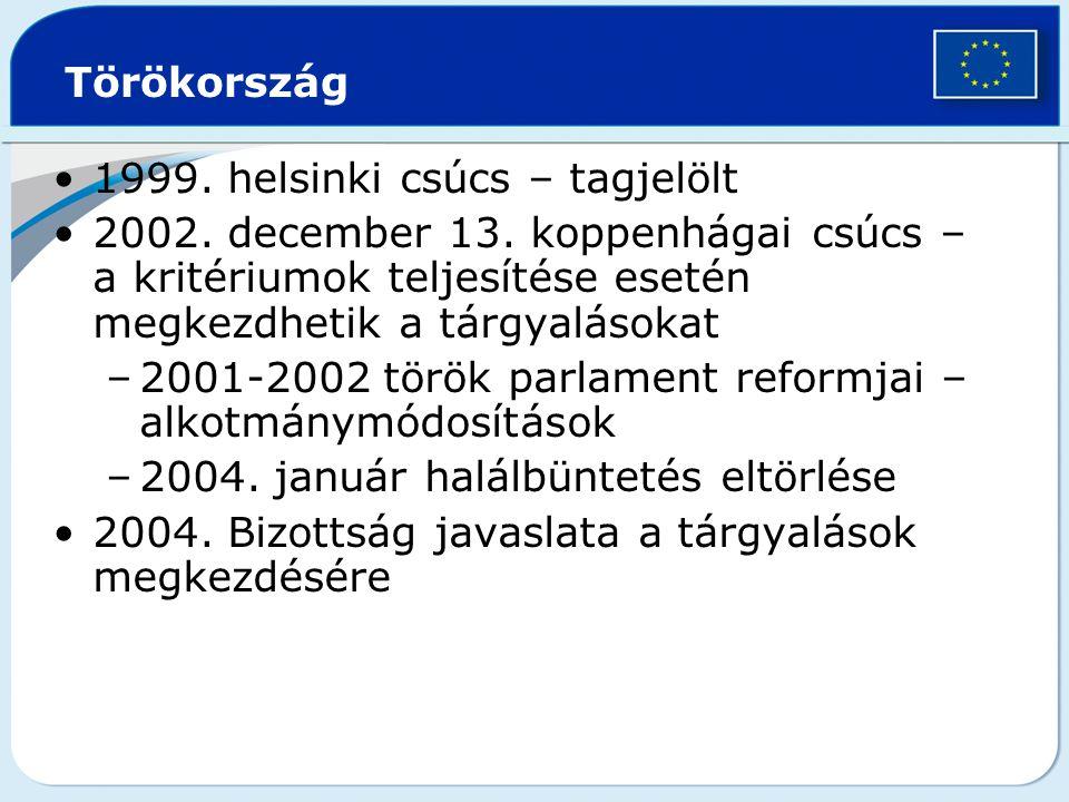 Törökország 1999. helsinki csúcs – tagjelölt. 2002. december 13. koppenhágai csúcs – a kritériumok teljesítése esetén megkezdhetik a tárgyalásokat.