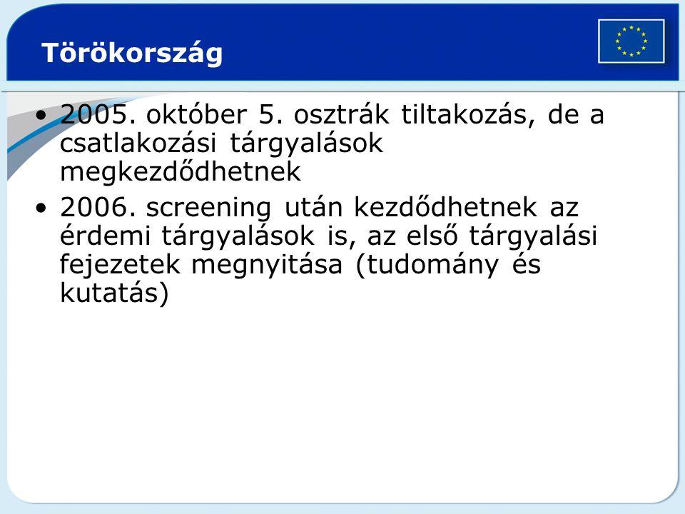 Törökország 2005. október 5. osztrák tiltakozás, de a csatlakozási tárgyalások megkezdődhetnek.