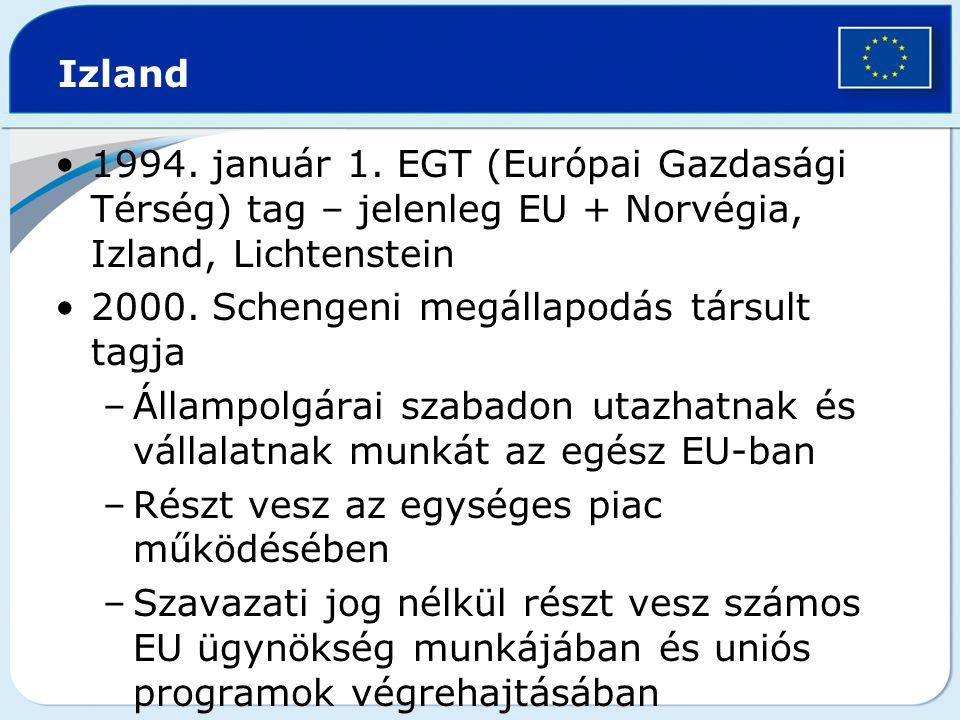 Izland 1994. január 1. EGT (Európai Gazdasági Térség) tag – jelenleg EU + Norvégia, Izland, Lichtenstein.