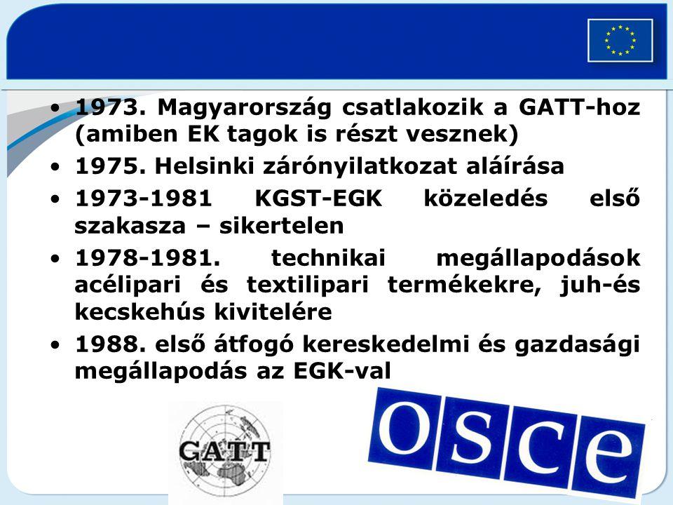 1973. Magyarország csatlakozik a GATT-hoz (amiben EK tagok is részt vesznek)