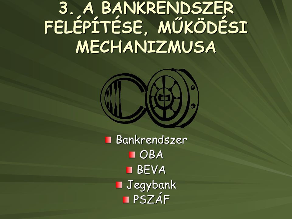 3. A BANKRENDSZER FELÉPÍTÉSE, MŰKÖDÉSI MECHANIZMUSA