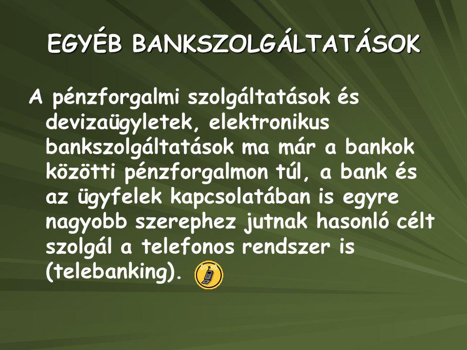 EGYÉB BANKSZOLGÁLTATÁSOK
