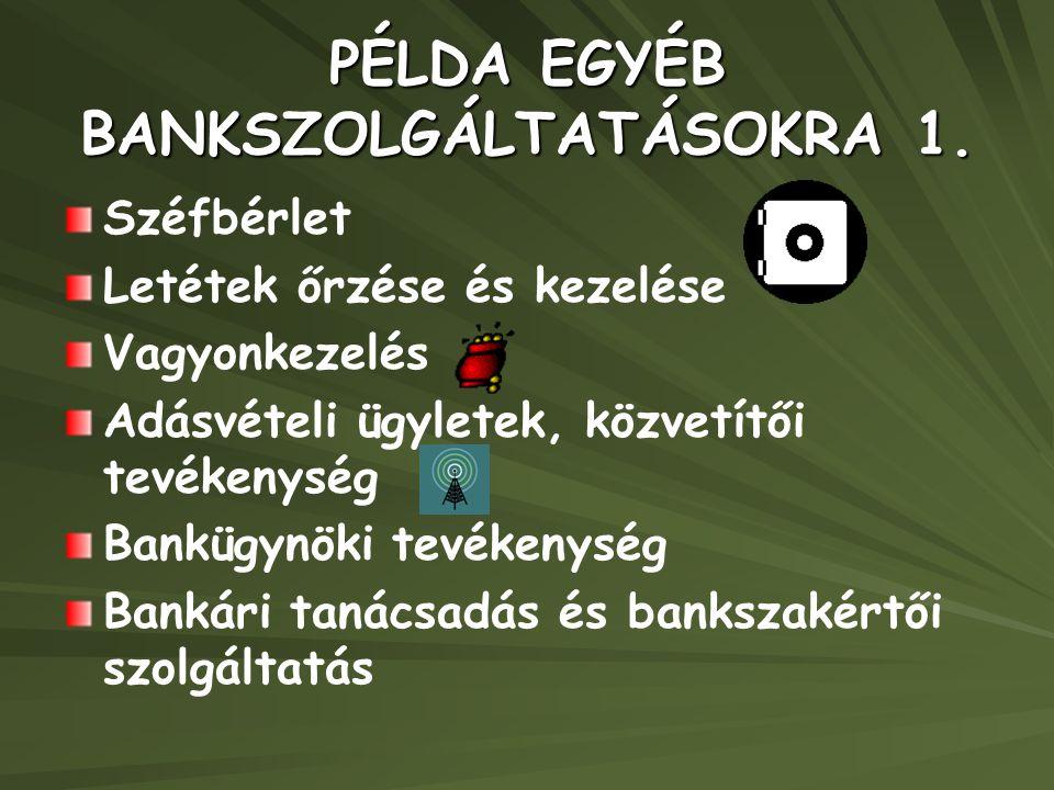 PÉLDA EGYÉB BANKSZOLGÁLTATÁSOKRA 1.
