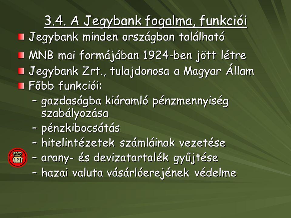 3.4. A Jegybank fogalma, funkciói