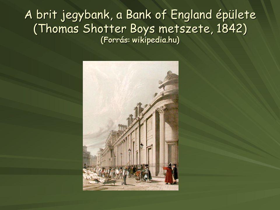 A brit jegybank, a Bank of England épülete (Thomas Shotter Boys metszete, 1842) (Forrás: wikipedia.hu)