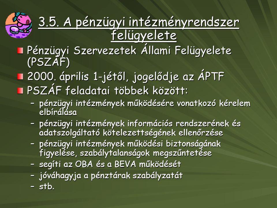 3.5. A pénzügyi intézményrendszer felügyelete