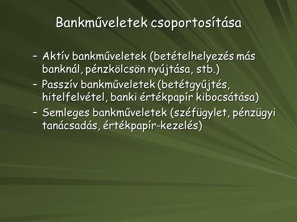 Bankműveletek csoportosítása