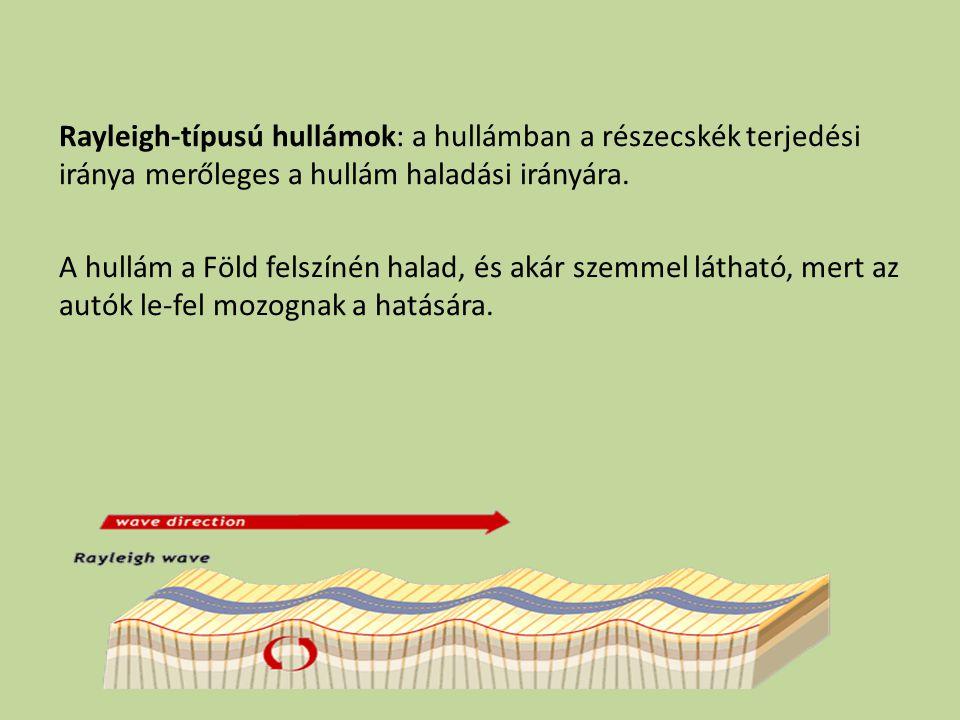 Rayleigh-típusú hullámok: a hullámban a részecskék terjedési iránya merőleges a hullám haladási irányára.