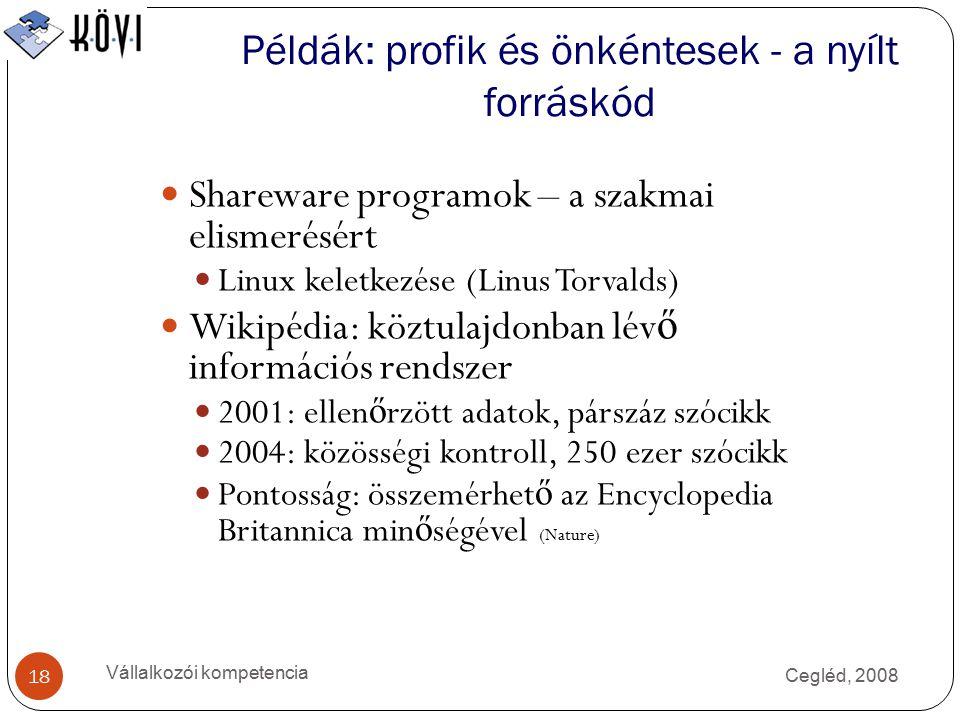 Példák: profik és önkéntesek - a nyílt forráskód