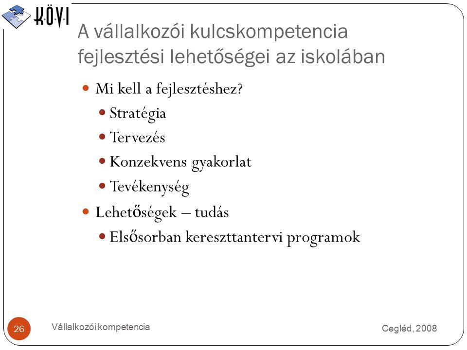 A vállalkozói kulcskompetencia fejlesztési lehetőségei az iskolában