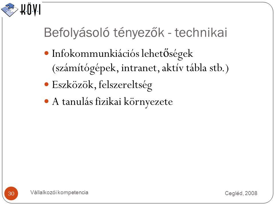 Befolyásoló tényezők - technikai