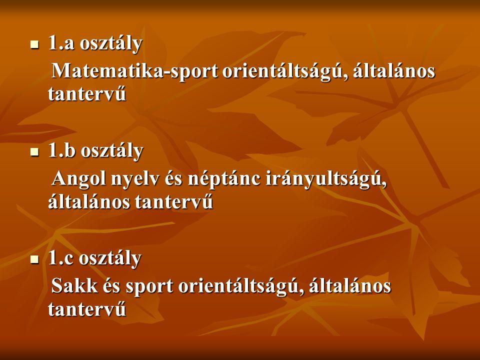 1.a osztály Matematika-sport orientáltságú, általános tantervű. 1.b osztály. Angol nyelv és néptánc irányultságú, általános tantervű.