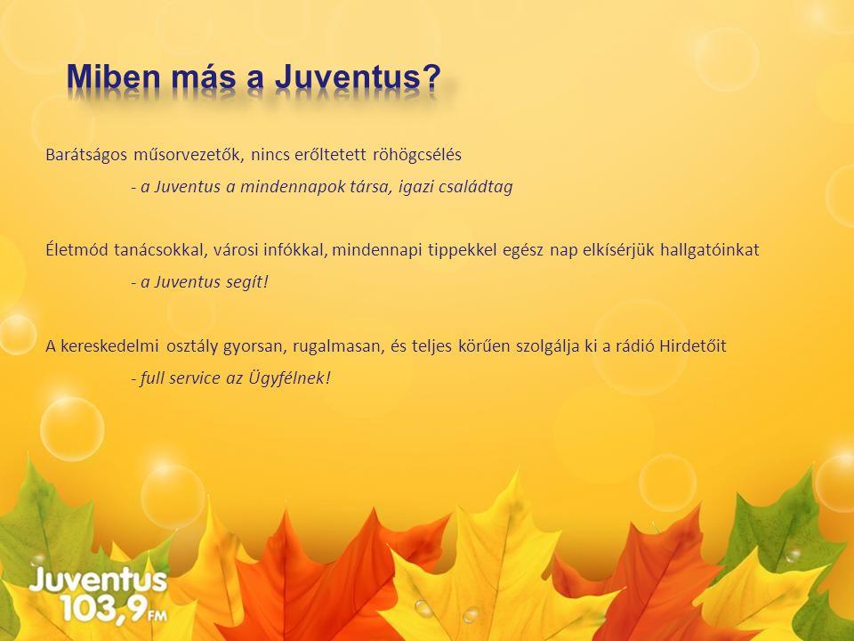 Miben más a Juventus Barátságos műsorvezetők, nincs erőltetett röhögcsélés. - a Juventus a mindennapok társa, igazi családtag.