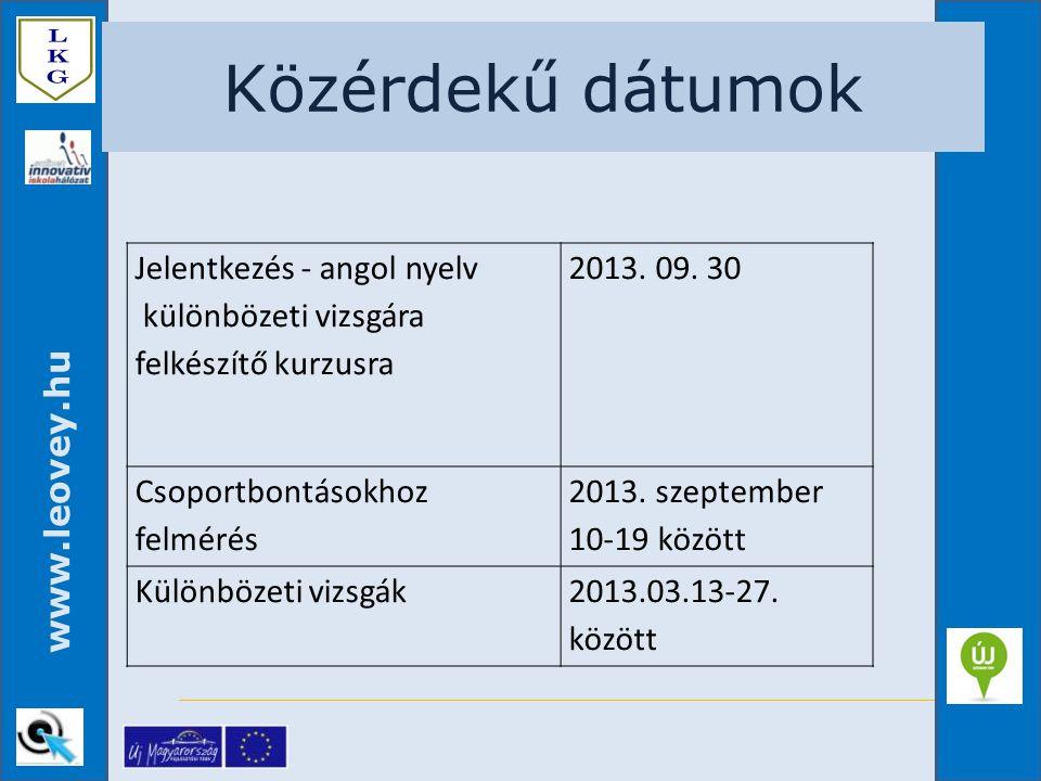 Közérdekű dátumok Jelentkezés - angol nyelv különbözeti vizsgára felkészítő kurzusra. 2013. 09. 30.