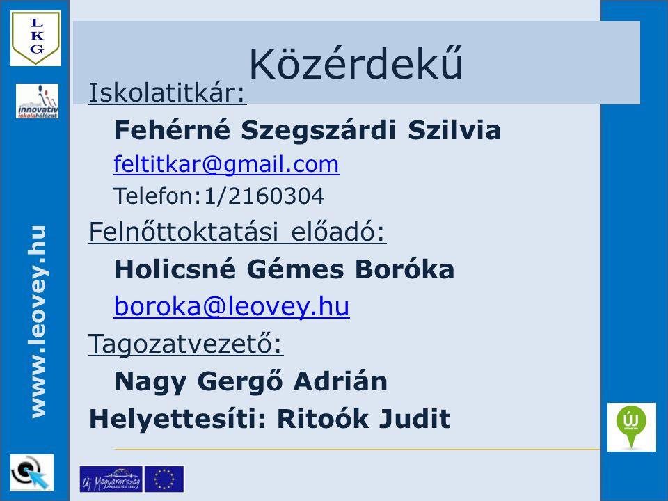 Közérdekű Iskolatitkár: Felnőttoktatási előadó: boroka@leovey.hu