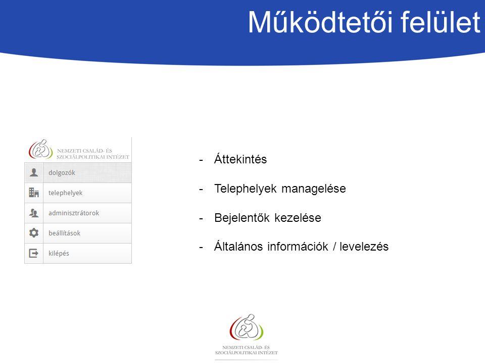 Működtetői felület Áttekintés Telephelyek managelése