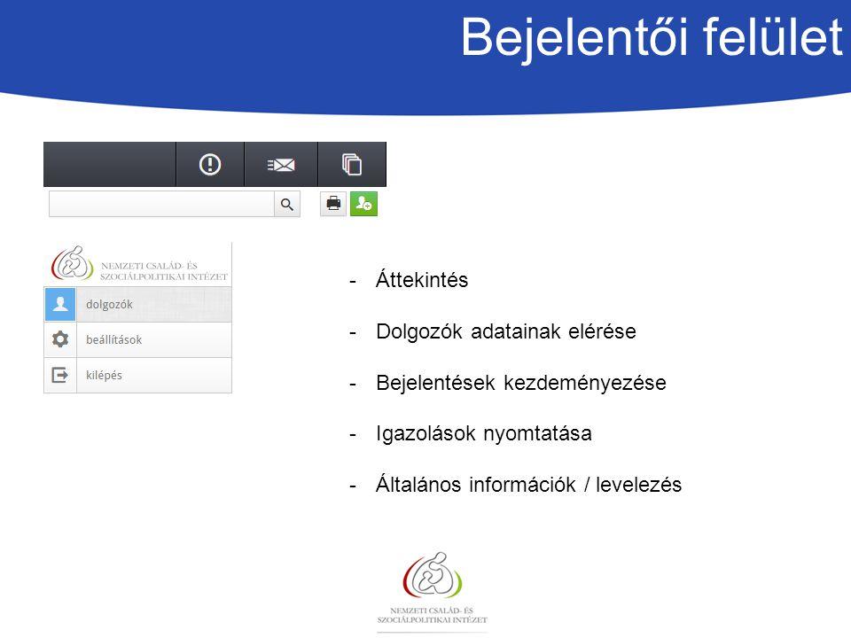 Bejelentői felület Áttekintés Dolgozók adatainak elérése