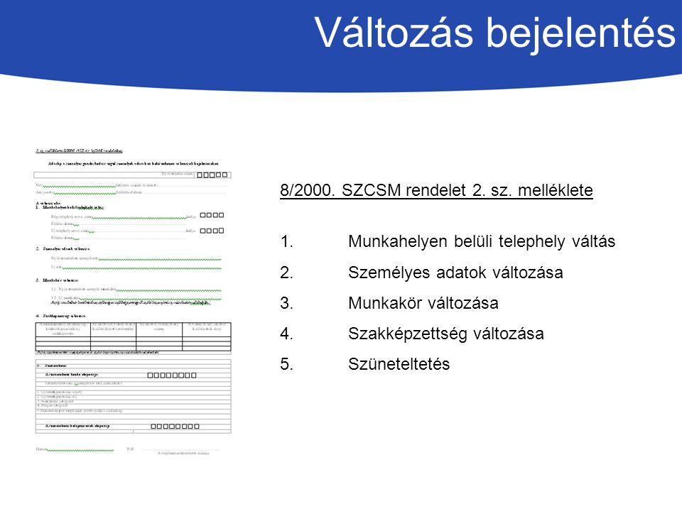 Változás bejelentés 8/2000. SZCSM rendelet 2. sz. melléklete