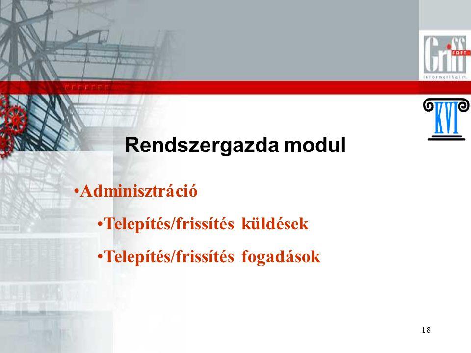 Rendszergazda modul Adminisztráció Telepítés/frissítés küldések