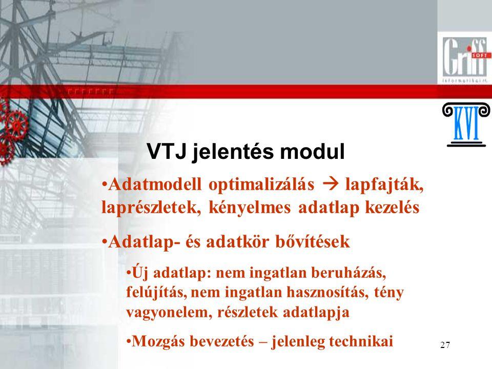 VTJ jelentés modul Adatmodell optimalizálás  lapfajták, laprészletek, kényelmes adatlap kezelés. Adatlap- és adatkör bővítések.