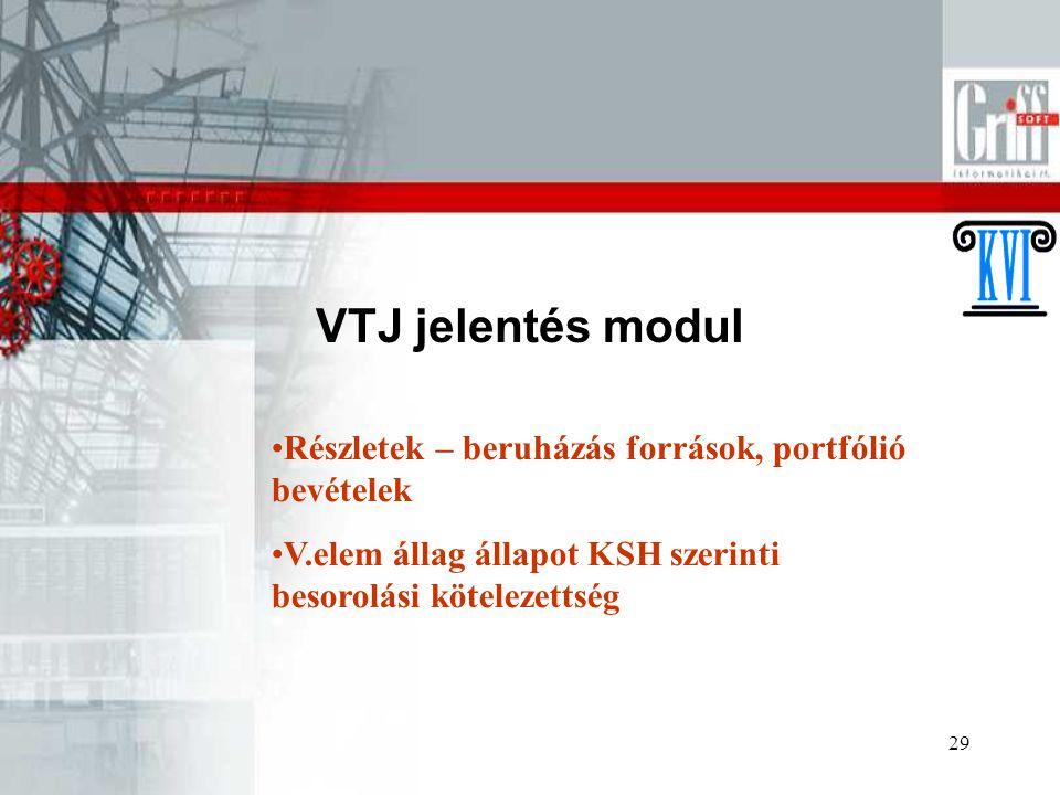 VTJ jelentés modul Részletek – beruházás források, portfólió bevételek