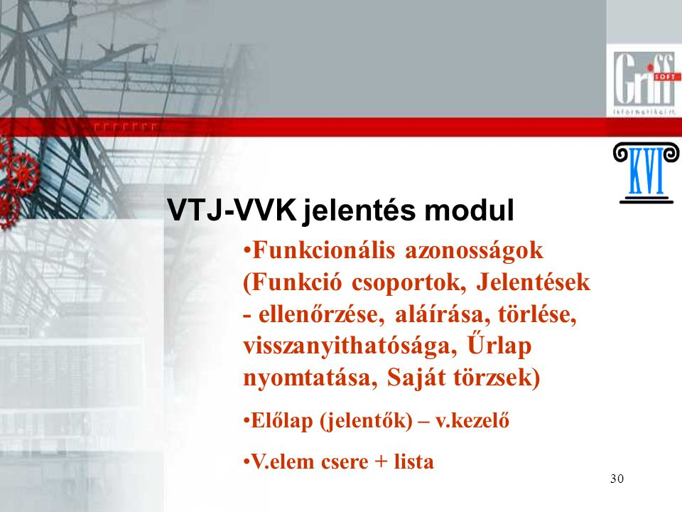 VTJ-VVK jelentés modul