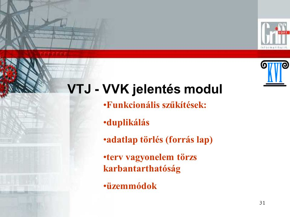 VTJ - VVK jelentés modul