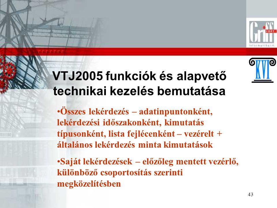 VTJ2005 funkciók és alapvető technikai kezelés bemutatása
