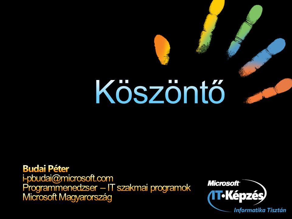 Köszöntő Budai Péter i-pbudai@microsoft.com Programmenedzser – IT szakmai programok Microsoft Magyarország.
