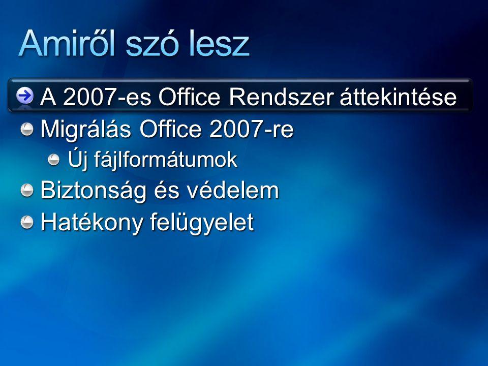 Amiről szó lesz A 2007-es Office Rendszer áttekintése