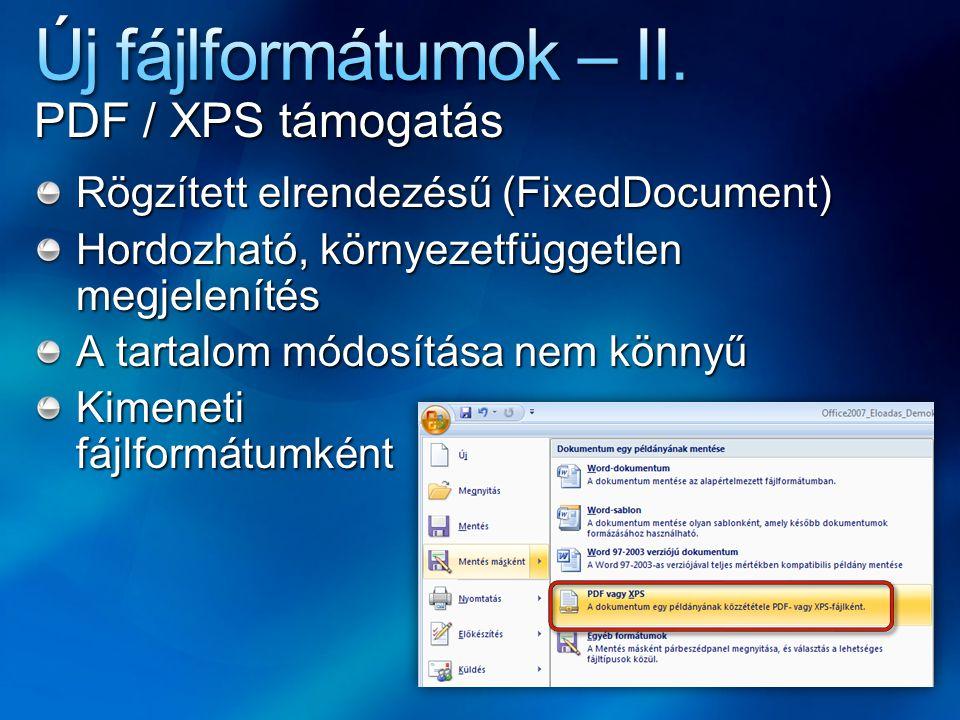 Új fájlformátumok – II. PDF / XPS támogatás