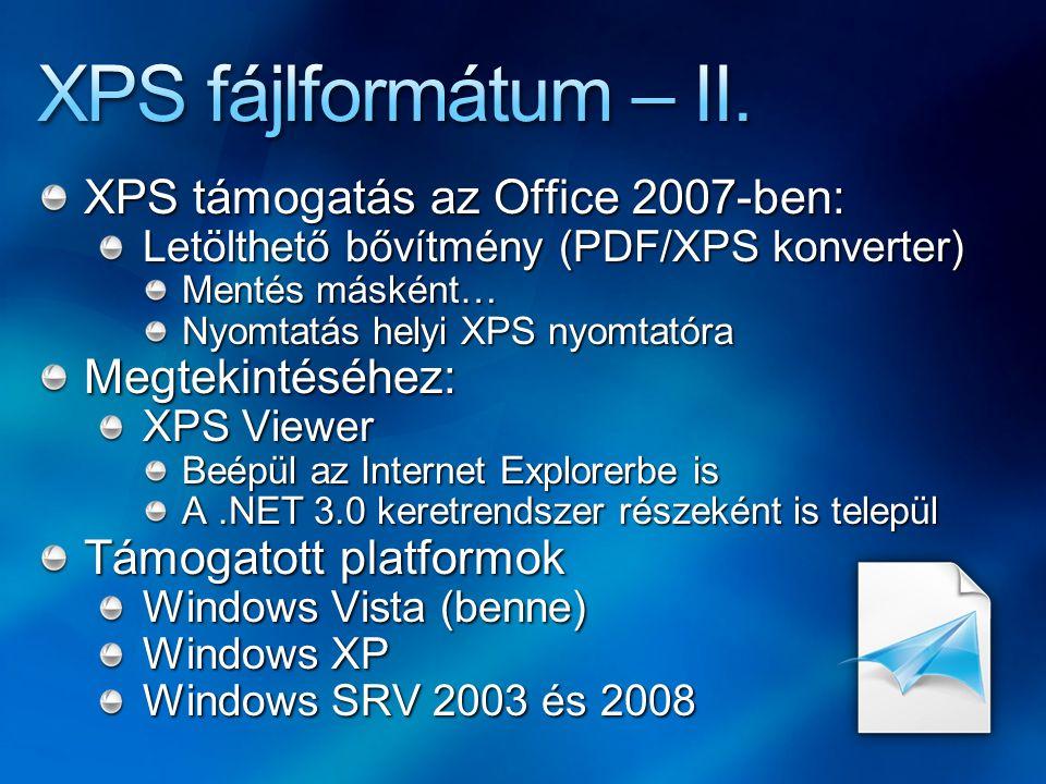 XPS fájlformátum – II. XPS támogatás az Office 2007-ben: