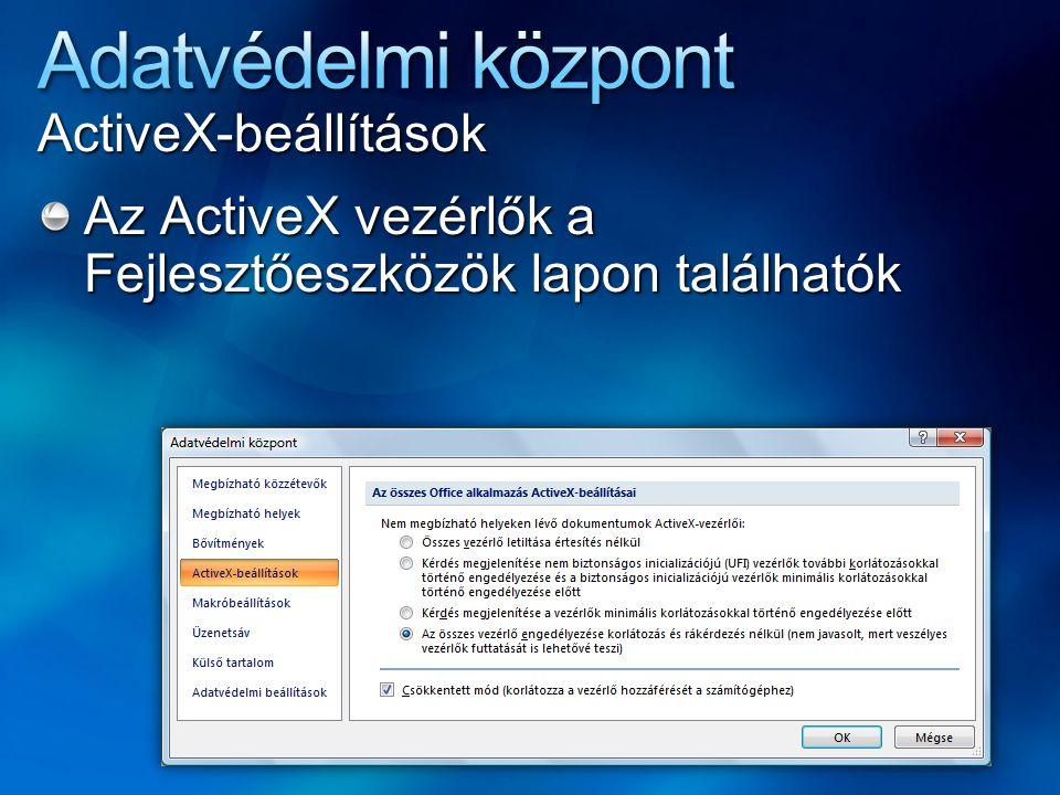 Adatvédelmi központ ActiveX-beállítások