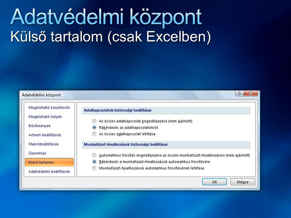 Adatvédelmi központ Külső tartalom (csak Excelben)