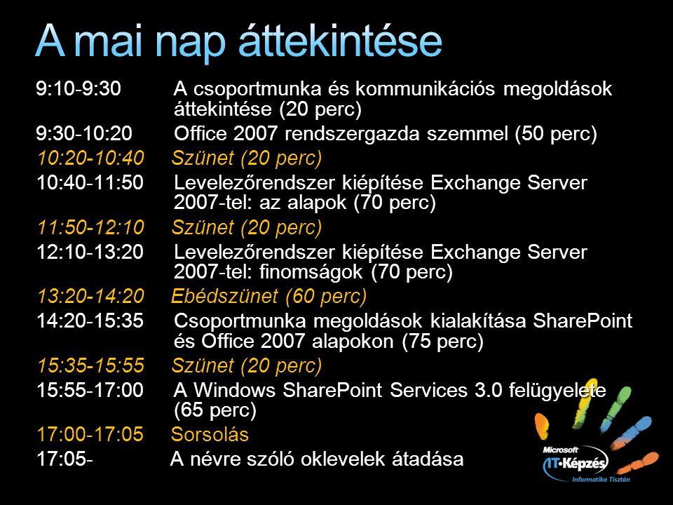 A mai nap áttekintése 9:10-9:30 A csoportmunka és kommunikációs megoldások áttekintése (20 perc)