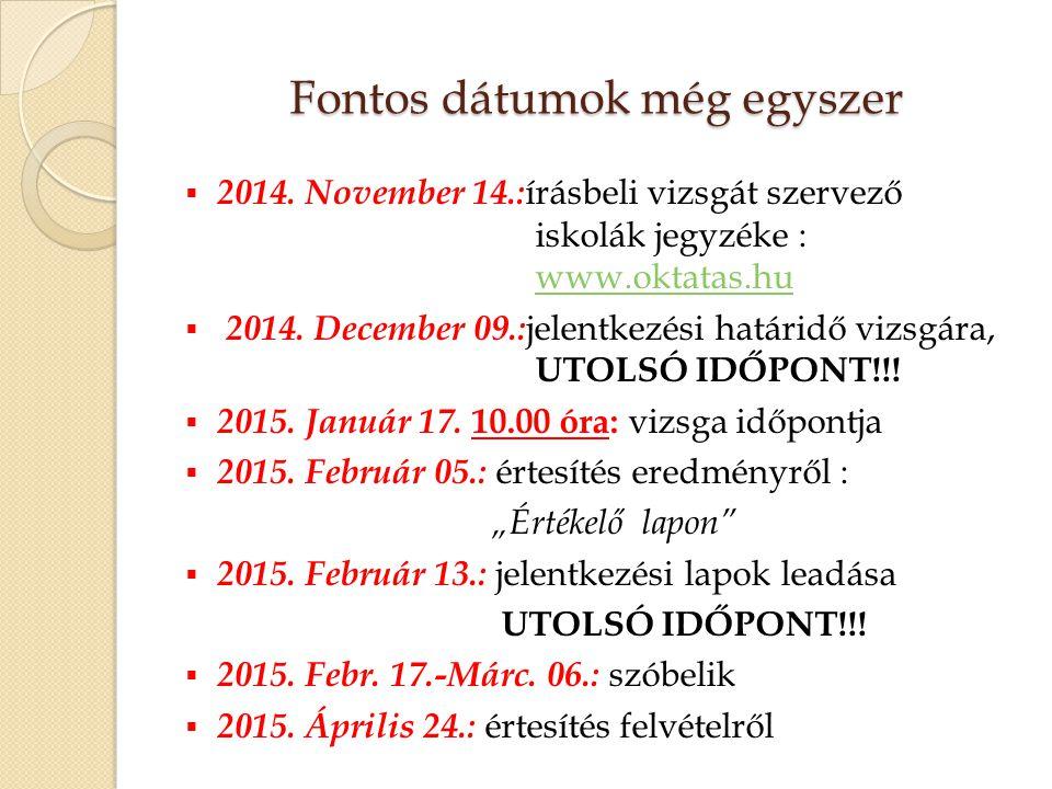 Fontos dátumok még egyszer