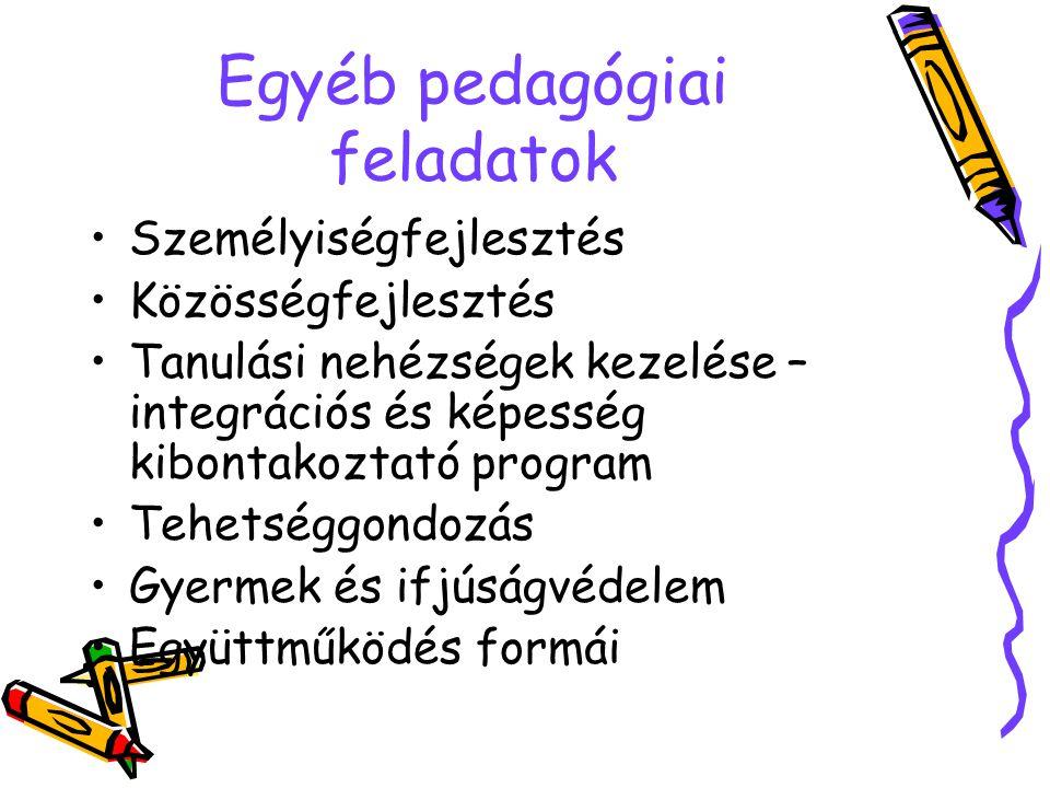 Egyéb pedagógiai feladatok