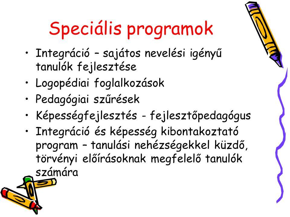 Speciális programok Integráció – sajátos nevelési igényű tanulók fejlesztése. Logopédiai foglalkozások.