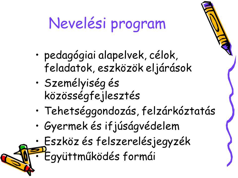 Nevelési program pedagógiai alapelvek, célok, feladatok, eszközök eljárások. Személyiség és közösségfejlesztés.