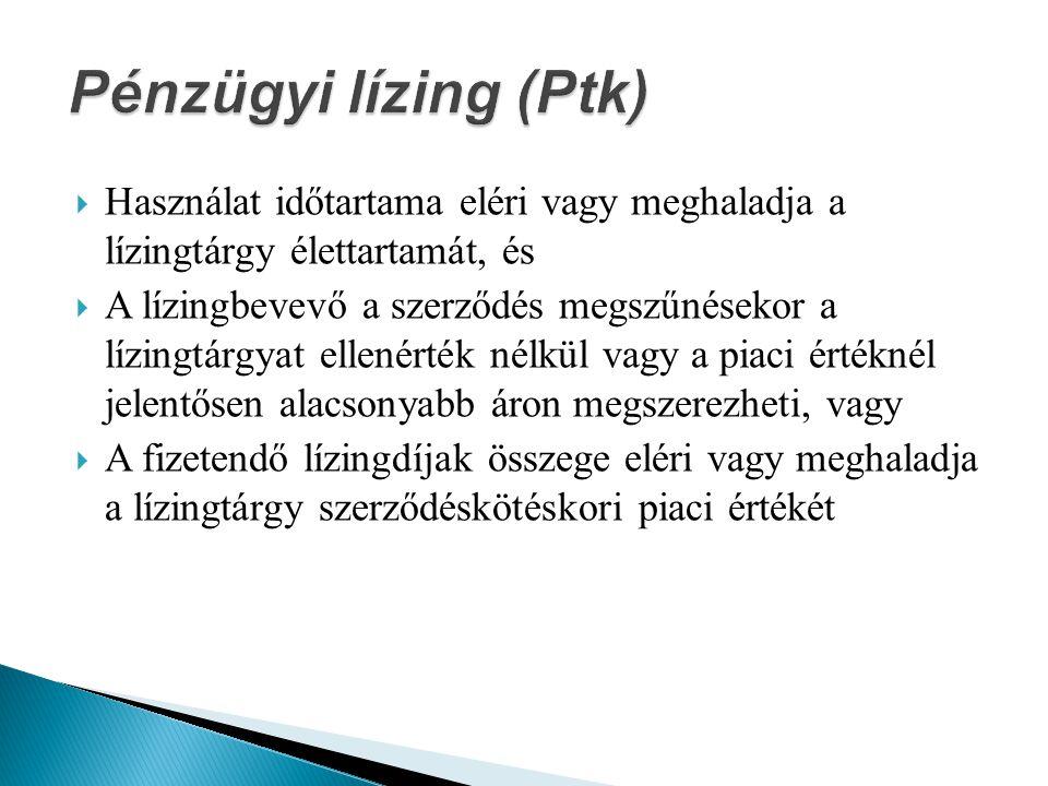 Pénzügyi lízing (Ptk) Használat időtartama eléri vagy meghaladja a lízingtárgy élettartamát, és.