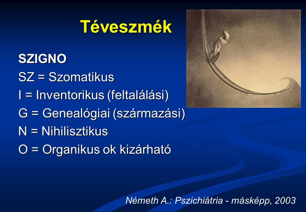 Téveszmék SZIGNO SZ = Szomatikus I = Inventorikus (feltalálási)